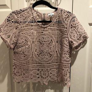 Tobi Pink Crochet Crop Top